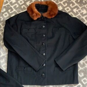Black 40's 50's wool suit with fur trim